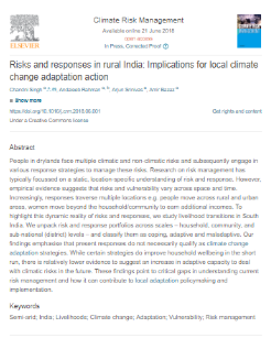 Risks and responses in rural India: Implications for local climate change adaptation action